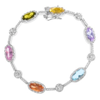 Journee Collection Sterling Silver Multi-Color Cubic Zirconia Halo Bracelet