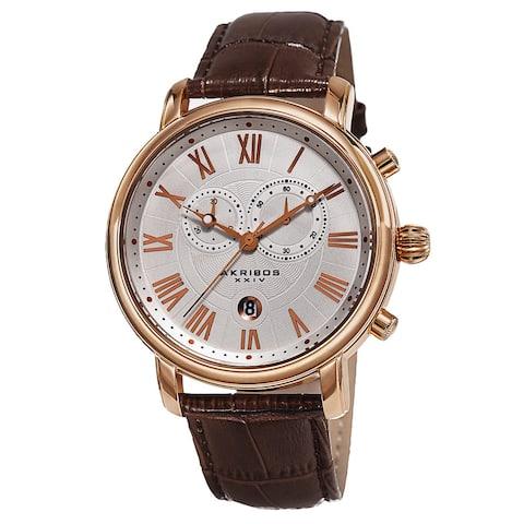 Akribos XXIV Men's Swiss Quartz Chronograph Leather Rose-Tone Bracelet Watch - Gold