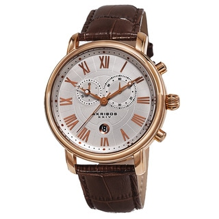 Akribos XXIV Men's Swiss Quartz Chronograph Leather Rose-Tone Bracelet Watch - Gold