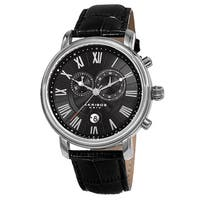 Akribos XXIV Men's Swiss Quartz Chronograph Leather Silver-Tone Bracelet Watch - black