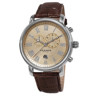 Akribos XXIV Men's Swiss Quartz Chronograph Leather Silver-Tone Bracelet Watch
