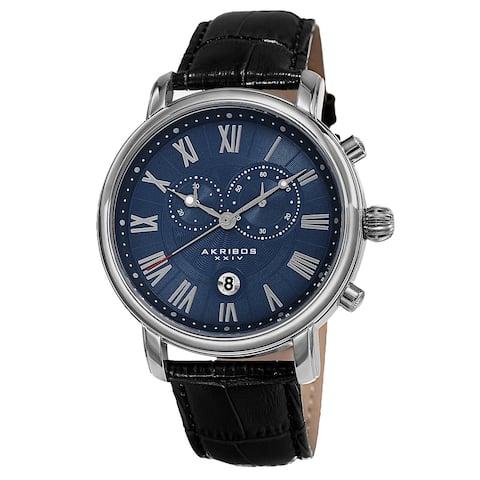 Akribos XXIV Men's Swiss Quartz Chronograph Leather Silver-Tone Bracelet Watch - Blue
