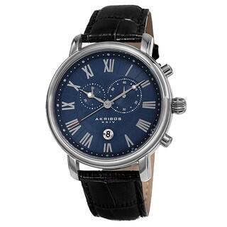 Akribos XXIV Men's Swiss Quartz Chronograph Leather Silver-Tone Bracelet Watch