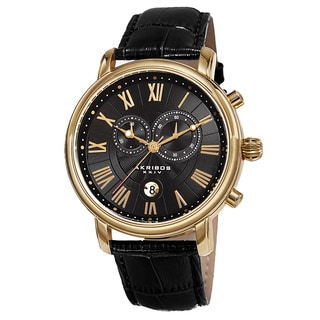 Akribos XXIV Men's Swiss Quartz Chronograph Leather Gold-Tone Bracelet Watch