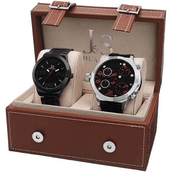 Joshua & Sons Men's Quartz Triple Time-Zone Stainless Steel Strap /Bracelet Watch Set - black