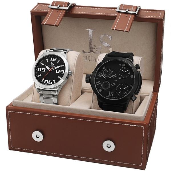 Joshua & Sons Men's Quartz Triple Time-Zone Stainless Steel Strap /Bracelet Watch Set - silver