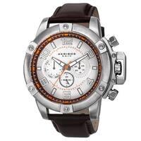 Akribos XXIV Men's Day/Date Decorative Screws Leather Brown Strap Watch