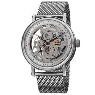 Akribos XXIV Men's Mesh Stainless Steel Automatic Silver-Tone Bracelet Watch - Silver