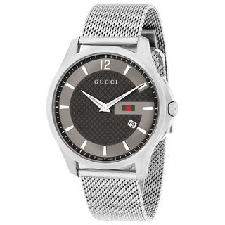 Gucci Men's YA126315 G-Timeless Round Silvertone Mesh Bracelet Watch