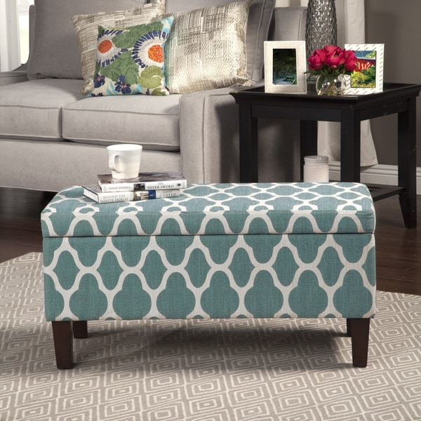 Shop Homepop Teal Blue Decorative Large Storage Ottoman