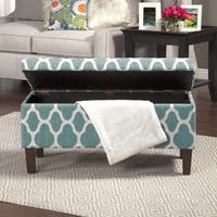 HomePop Teal Blue Decorative Large Storage Ottoman