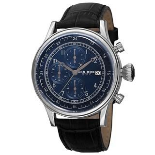 Akribos XXIV Bold Men's Quartz Chronograph Leather Silver-Tone Strap Watch