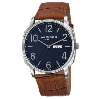 Akribos XXIV Men's Quartz Day/Date Display Leather Brown Strap Watch