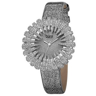 Burgi Women's Holiday-Style Quartz Sparkling Leather Grey Strap Watch with FREE GIFT