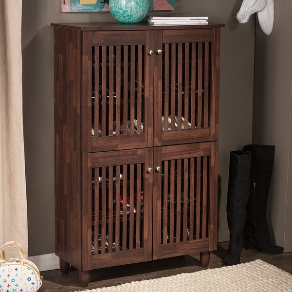 Copper Grove Angelina Dark Brown Shoe Cabinet With 4 Doors. Opens flyout.
