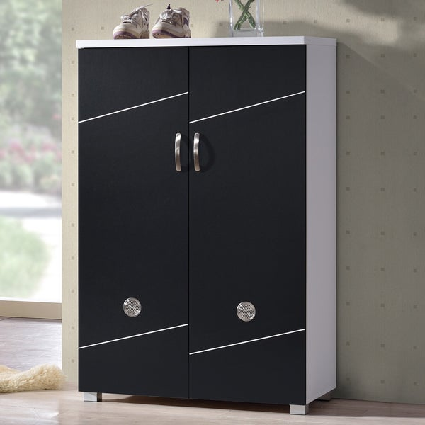 Baxton Studio Rudd Contemporary Black White Shoe Cabinet With 2 Doors
