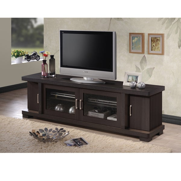 High Quality Baxton Studio Vega Contemporary 70 Inch Dark Brown Wood TV Cabinet With 2  Glass Doors