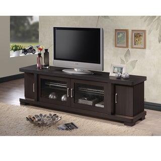 Baxton Studio Vega Contemporary 70-Inch Dark Brown Wood TV Cabinet with 2 Glass Doors and 2 Doors
