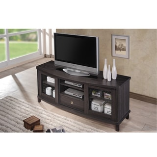 Baxton Studio Vaccaro Contemporary 60-Inch Dark Brown Wood TV Cabinet with 2 Sliding Doors and 1 Drawer