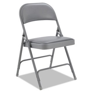 Alera Light Gray Steel Folding Chair With Padded Back/Seat (Set of 4)