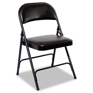 Alera Graphite Steel Folding Chair With Padded Back/Seat (Set of 4)