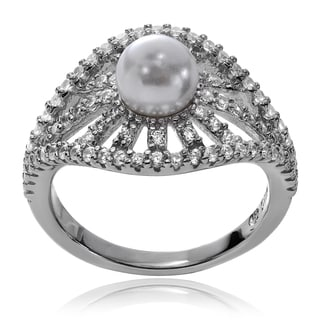 Journee Collection Sterling Silver Pearl CZ Engagement Ring
