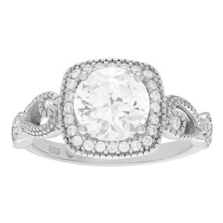 Sterling Silver Vintage-inspired Cubic Zirconia Halo Wedding Ring