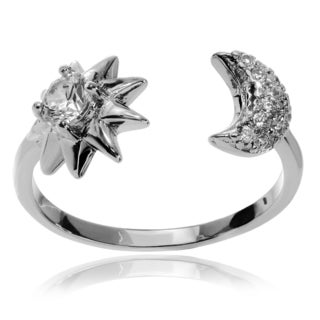 Journee Collection Sterling Silver CZ Moon and Star Open Ring