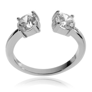 Journee Collection Sterling Silver Round Cubic Zirconia Open Ring