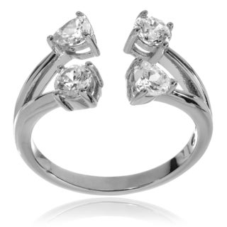 Journee Collection Rhodium-plated Sterling Silver CZ Open Ring