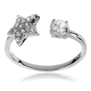 Journee Collection Sterling Silver Rhodium-plated CZ Star Open Ring