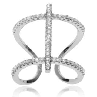 Journee Collection Rhodium-plated Sterling Silver CZ Open Double Band Ring