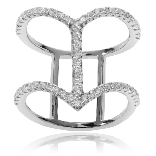 Journee Collection Sterling Silver Cubic Zirconia Chevron Double Band Ring