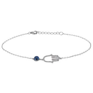 Journee Collection Rhodium-plated Sterling Silver CZ Accent Hamsa Bracelet