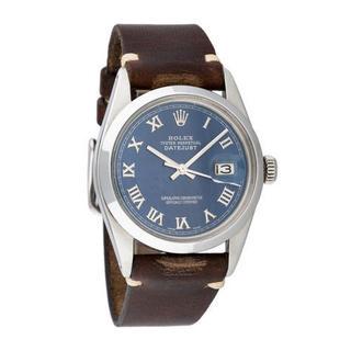 Pre-owned Rolex Men's Quickset Leather Datejust Blue Roman Dial Watch