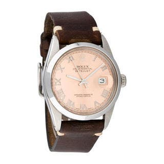 Pre-owned Rolex Men's Quickset Leather Datejust Salmon Roman Dial Watch|https://ak1.ostkcdn.com/images/products/10293392/P17407549.jpg?impolicy=medium
