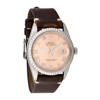 Pre-owned Rolex Mens Stainless Steel Leather Datejust Salmon Roman Dial Watch|https://ak1.ostkcdn.com/images/products/10293393/P17407550.jpg?_ostk_perf_=percv&impolicy=medium