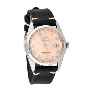 Pre-owned Rolex Men's Quickset Leather Datejust Salmon Roman Dial Watch|https://ak1.ostkcdn.com/images/products/10293394/P17407551.jpg?impolicy=medium