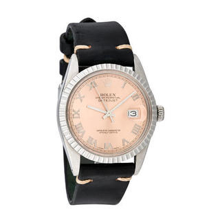 Pre-owned Rolex Mens Stainless Steel Leather Datejust Salmon Roman Dial Watch