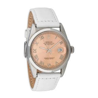Pre-owned Rolex Men's Quickset Leather Datejust Salmon Roman Dial Watch|https://ak1.ostkcdn.com/images/products/10293396/P17407553.jpg?impolicy=medium