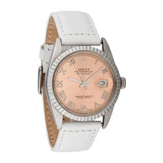 Pre-owned Rolex Men's Quickset Leather Datejust Salmon Roman Dial Watch|https://ak1.ostkcdn.com/images/products/10293397/P17407554.jpg?impolicy=medium