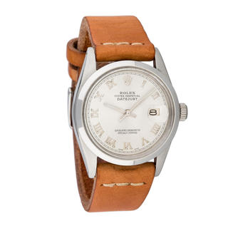Pre-owned Rolex Men's Quickset Leather Datejust Silver Roman Dial Watch