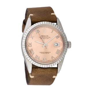 Pre-owned Rolex Mens Stainless Steel Leather Datejust Pink Roman Dial Watch