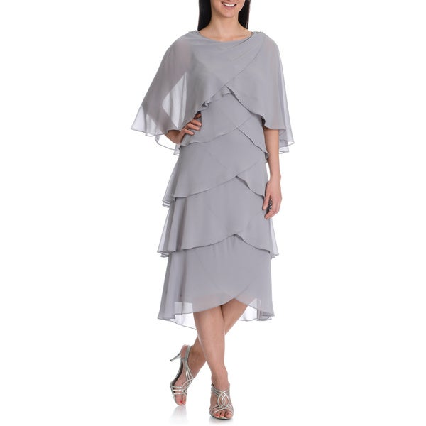 Fashions Womens Multi Tiered Dress w/Capelet