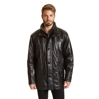 Excelled Men's Black Faux Fur Leather Jacket