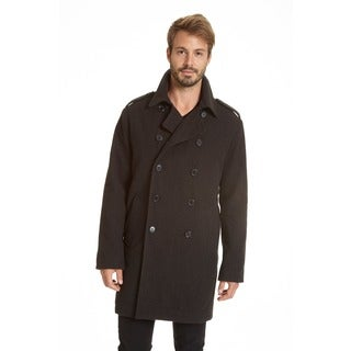 Excelled Men's Faux Wool Double Breasted 3/4 Length Peacoat