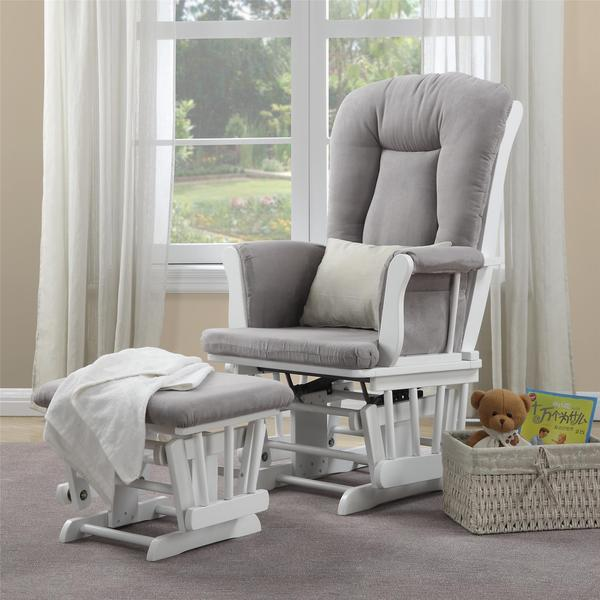 Baby Relax Simone White Glider And Ottoman Combo Free Shipping - Grey  Nursery Glider And Ottoman - Nursery Gliders And Ottomans Fordupont Living Design