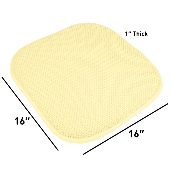 "4 PACK Non Slip Memory Foam Chair Cushion Pads with Ties 17/"" x 16/"""