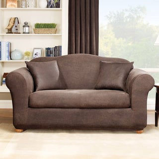 Sure Fit Stretch Leather 2-Piece Sofa Slip Cover in Brown (As Is Item)