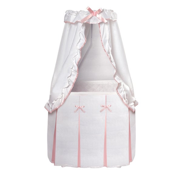 Badger Basket Majesty Baby Binet With Canopy White And Pink Bedding